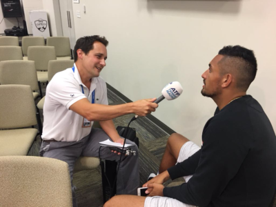 Nick Kyrgios talks with Seb Lauzier